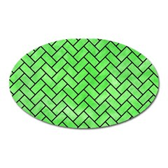 Brick2 Black Marble & Green Watercolor (r) Oval Magnet