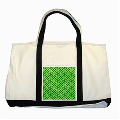 Brick2 Black Marble & Green Watercolor (r) Two Tone Tote Bag