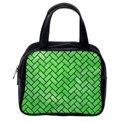Brick2 Black Marble & Green Watercolor (r) Classic Handbags (one Side)