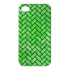 Brick2 Black Marble & Green Watercolor (r) Apple Iphone 4/4s Premium Hardshell Case