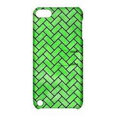 Brick2 Black Marble & Green Watercolor (r) Apple Ipod Touch 5 Hardshell Case With Stand