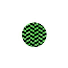Chevron1 Black Marble & Green Watercolor 1  Mini Buttons