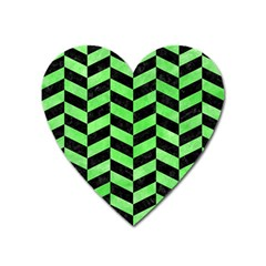 Chevron1 Black Marble & Green Watercolor Heart Magnet