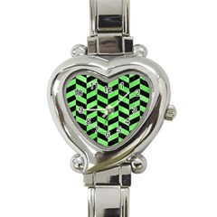 Chevron1 Black Marble & Green Watercolor Heart Italian Charm Watch