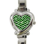 CHEVRON1 BLACK MARBLE & GREEN WATERCOLOR Heart Italian Charm Watch Front