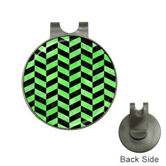 Chevron1 Black Marble & Green Watercolor Hat Clips With Golf Markers