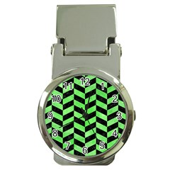 Chevron1 Black Marble & Green Watercolor Money Clip Watches