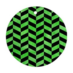 Chevron1 Black Marble & Green Watercolor Round Ornament (two Sides)