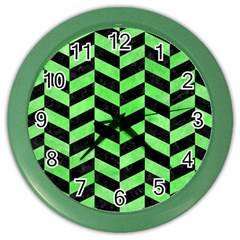 Chevron1 Black Marble & Green Watercolor Color Wall Clocks
