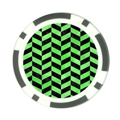 Chevron1 Black Marble & Green Watercolor Poker Chip Card Guard