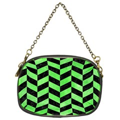 Chevron1 Black Marble & Green Watercolor Chain Purses (one Side)