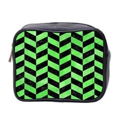 Chevron1 Black Marble & Green Watercolor Mini Toiletries Bag 2 Side