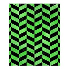 Chevron1 Black Marble & Green Watercolor Shower Curtain 60  X 72  (medium)