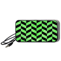 Chevron1 Black Marble & Green Watercolor Portable Speaker