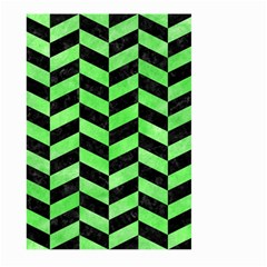 Chevron1 Black Marble & Green Watercolor Large Garden Flag (two Sides)