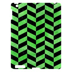 Chevron1 Black Marble & Green Watercolor Apple Ipad 3/4 Hardshell Case