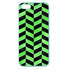 Chevron1 Black Marble & Green Watercolor Apple Seamless Iphone 5 Case (color)
