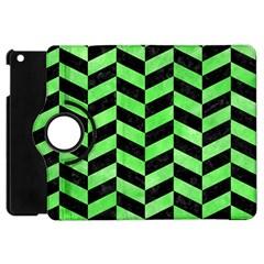 Chevron1 Black Marble & Green Watercolor Apple Ipad Mini Flip 360 Case