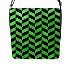 Chevron1 Black Marble & Green Watercolor Flap Messenger Bag (l)