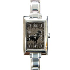 Vintage Halloween Raven Rectangle Italian Charm Watch