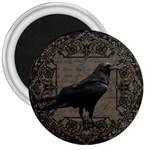 Vintage Halloween raven 3  Magnets Front