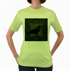 Vintage Halloween Raven Women s Green T Shirt