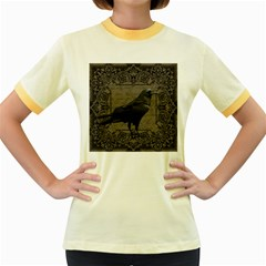 Vintage Halloween Raven Women s Fitted Ringer T Shirts