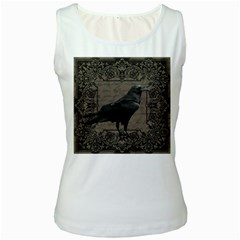 Vintage Halloween Raven Women s White Tank Top