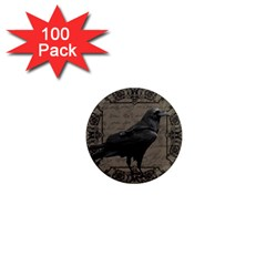 Vintage Halloween Raven 1  Mini Magnets (100 Pack)