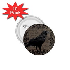 Vintage Halloween Raven 1 75  Buttons (10 Pack)