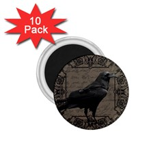 Vintage Halloween Raven 1 75  Magnets (10 Pack)