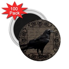 Vintage Halloween Raven 2 25  Magnets (100 Pack)