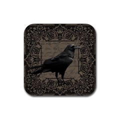 Vintage Halloween Raven Rubber Coaster (square)