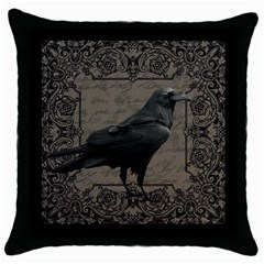 Vintage Halloween Raven Throw Pillow Case (black)
