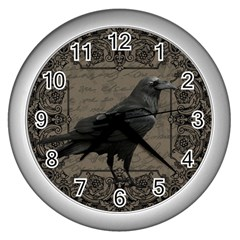 Vintage Halloween Raven Wall Clocks (silver)