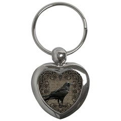 Vintage Halloween Raven Key Chains (heart)