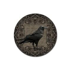 Vintage Halloween Raven Magnet 3  (round)