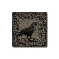 Vintage Halloween Raven Square Magnet