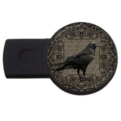 Vintage Halloween Raven Usb Flash Drive Round (2 Gb)