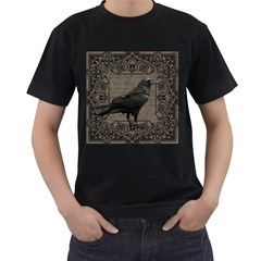 Vintage Halloween Raven Men s T Shirt (black) (two Sided)