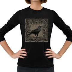 Vintage Halloween Raven Women s Long Sleeve Dark T Shirts
