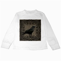 Vintage Halloween Raven Kids Long Sleeve T Shirts