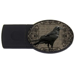 Vintage Halloween Raven Usb Flash Drive Oval (4 Gb)