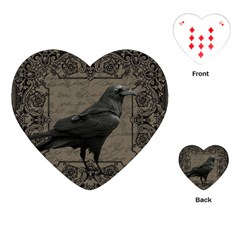 Vintage Halloween Raven Playing Cards (heart)