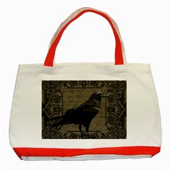 Vintage Halloween Raven Classic Tote Bag (red)