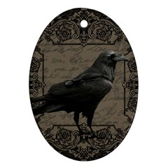 Vintage Halloween Raven Oval Ornament (two Sides)