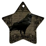 Vintage Halloween raven Star Ornament (Two Sides) Front