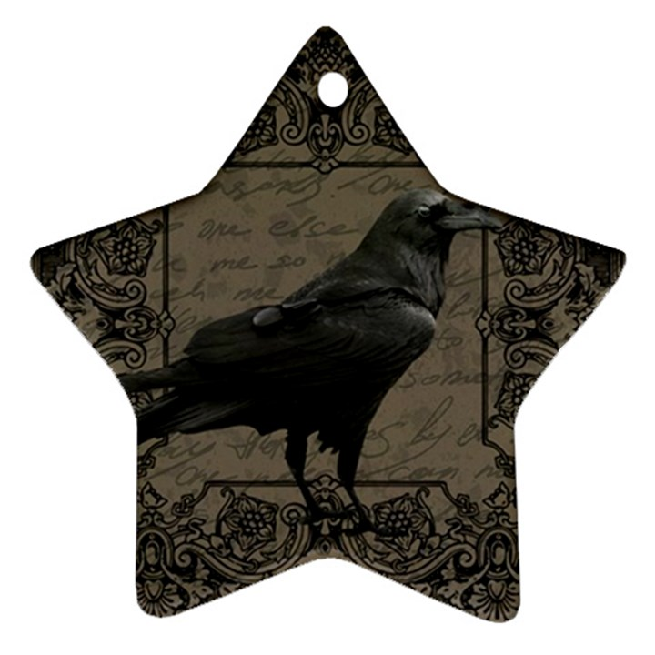 Vintage Halloween raven Star Ornament (Two Sides)