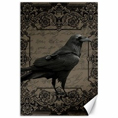 Vintage Halloween Raven Canvas 12  X 18