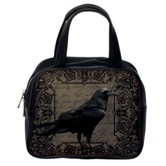 Vintage Halloween Raven Classic Handbags (one Side)